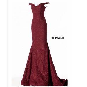 Jovani • 55187 Off-Shoulder Glittered Mermaid Gown
